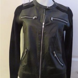 TOWNSEN BLACK LEATHER & MATERIAL JACKET XS